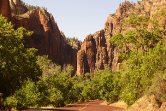 Scenic Drive Zion NP, l'extrémité de la vallée, the Narrows